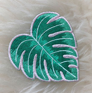 Monstera Tropical Leaf patch designed by Emily Lopuch for Wildflower and Company.