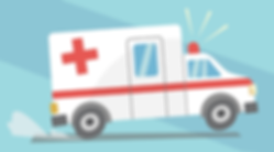 Illustration of an ambulance by Emily Lopuch for RI Parity Initiative.