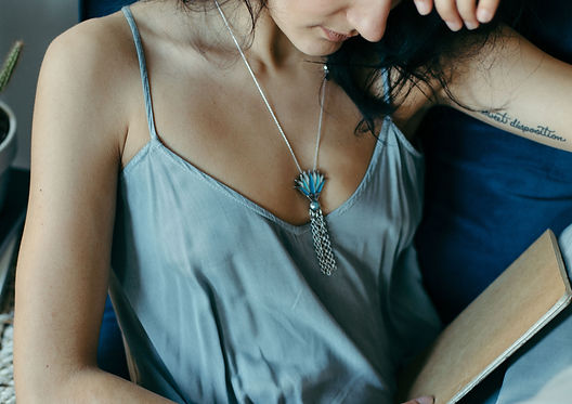 Blue Lotus jewelry designed by Emily Lopuch for Alex and Ani.