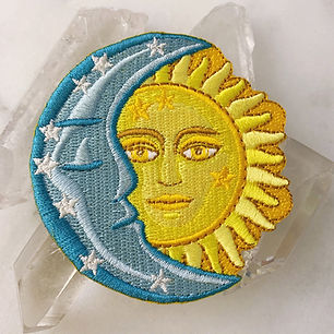 Sun and Moon patch designed by Emily Lopuch for Wildflower and Company.