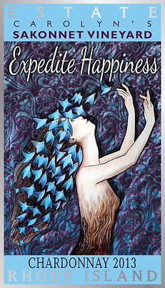Expedite Happiness Wine Label designed by Emily Lopuch for Sakonnet Vineyards.
