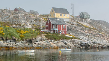 Saarloq in the fog, a fishing village in South Greenland