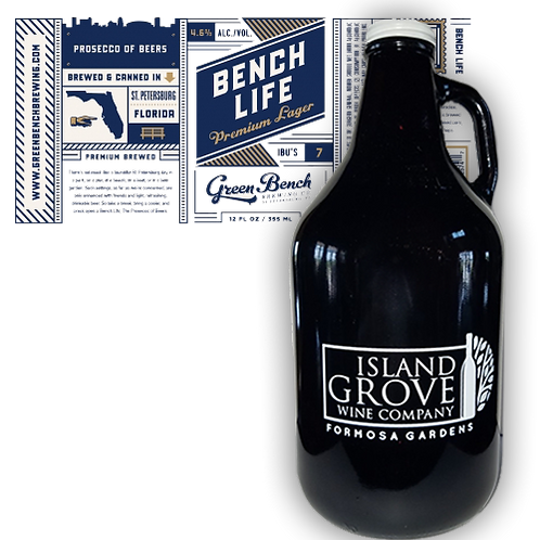 Full Growler of Bench Life Premium Lager