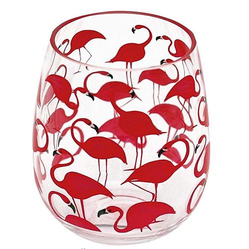 Flamingo Plastic Stemless Wine Glass