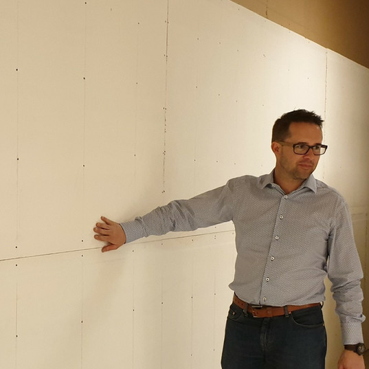 Interior Wall Board. Paul Charteris our CEO inspecting the installation.