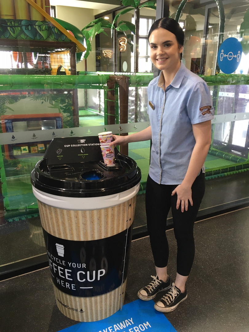 Recycle coffee cups at Muffin Break Cain