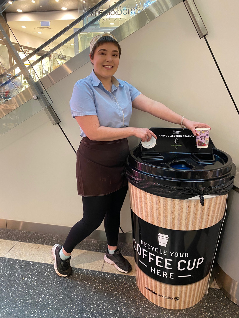 Recycle coffee cup at Muffin Break Joond