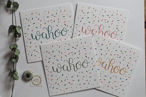 """""""Wahoo"""" Pack of 4 Cards"""