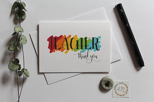 """Teacher thank you"" Card"
