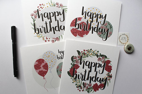 Pack of 4 | Flower Birthday Cards