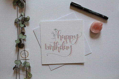 "Pink ""happy birthday"" Card"