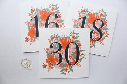 Floral Number Cards
