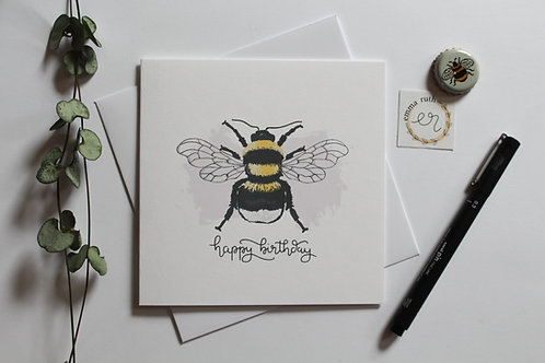 Happy Birthday Bee Card