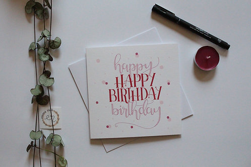 "Pink & Red ""Happy Birthday"" Card"