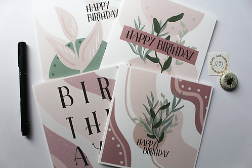 Pack of 4 | Flora Birthday Cards