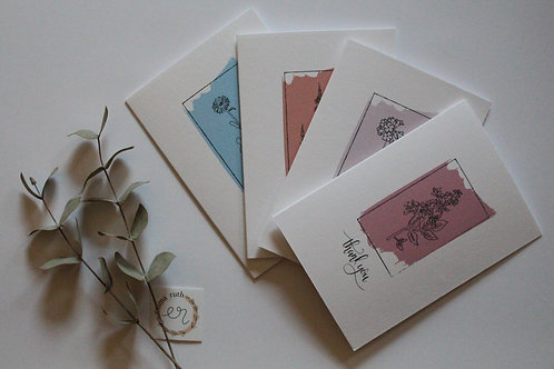 "Flora ""Thank you"" Pack of 4 Cards"
