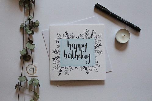 """Blue """"happy birthday"""" Card"""