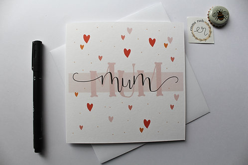 Mum Hearts Card