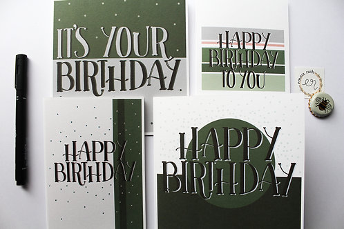Pack of 4 | Green Birthday Cards