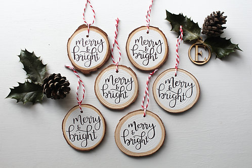 """""""merry & bright"""" Wooden Decoration"""