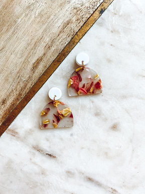 Alice | Clear Acrylic with Pink and Yellow Flowers