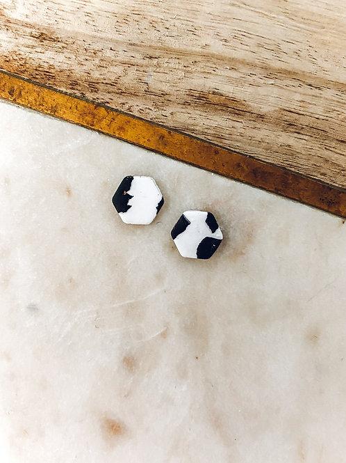 Atlas Hexagon | Black and White Cow Print