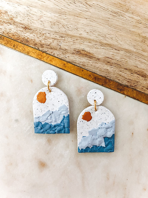 Ashlyn | Speckled White, Blue and Copper