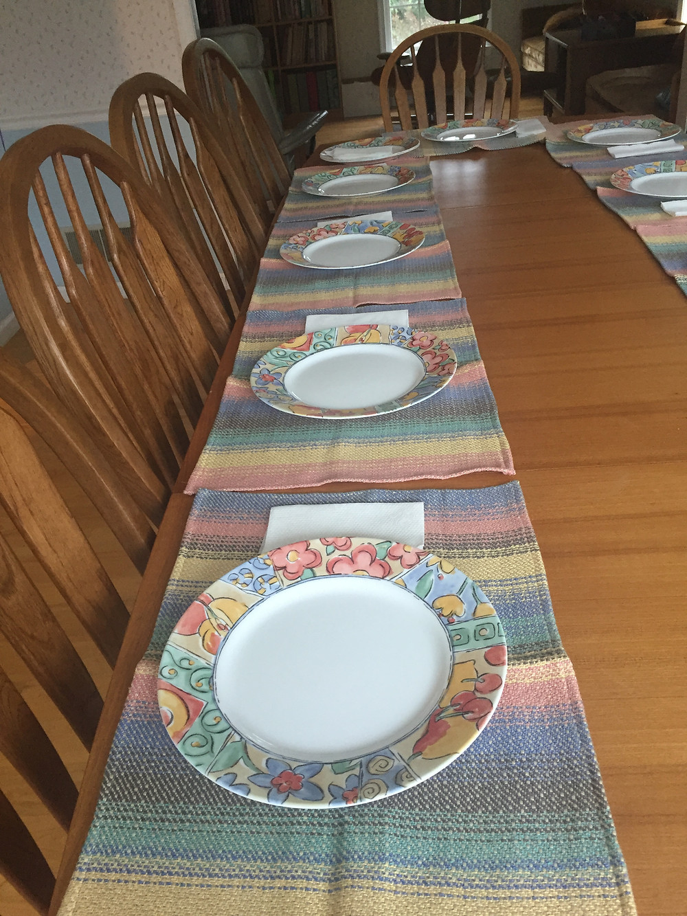 """Placemats """"in the wild"""" - aka, their new home."""