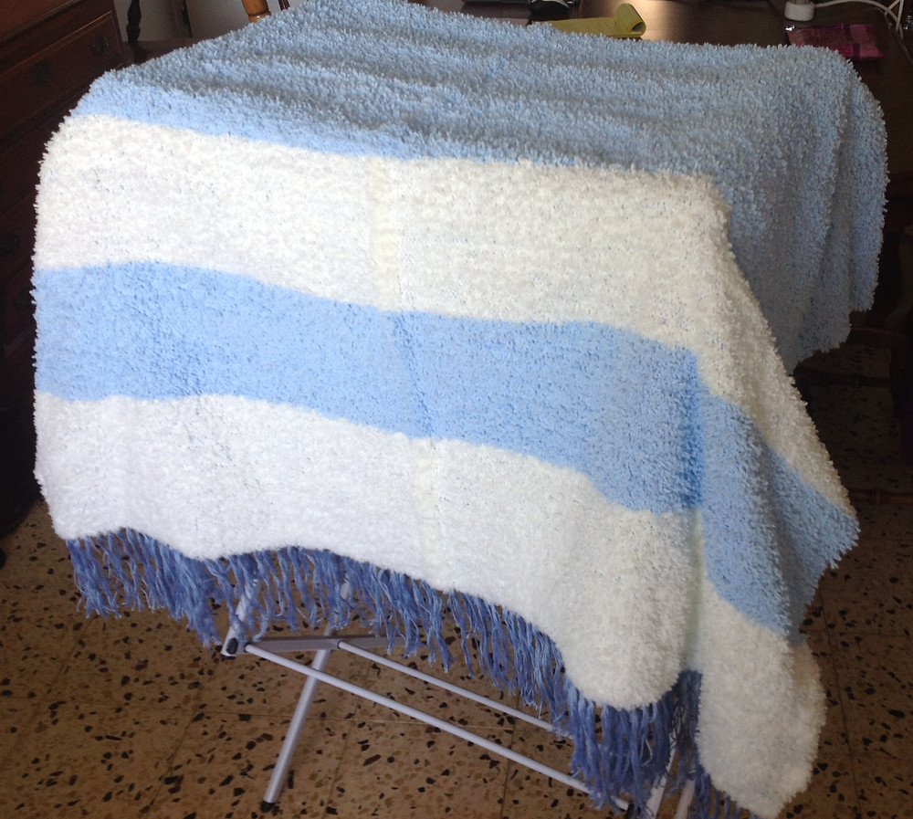 Fuzzy Blanket in Pale Blue & White