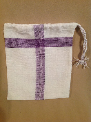 Medium Bag in White with Purple Accent