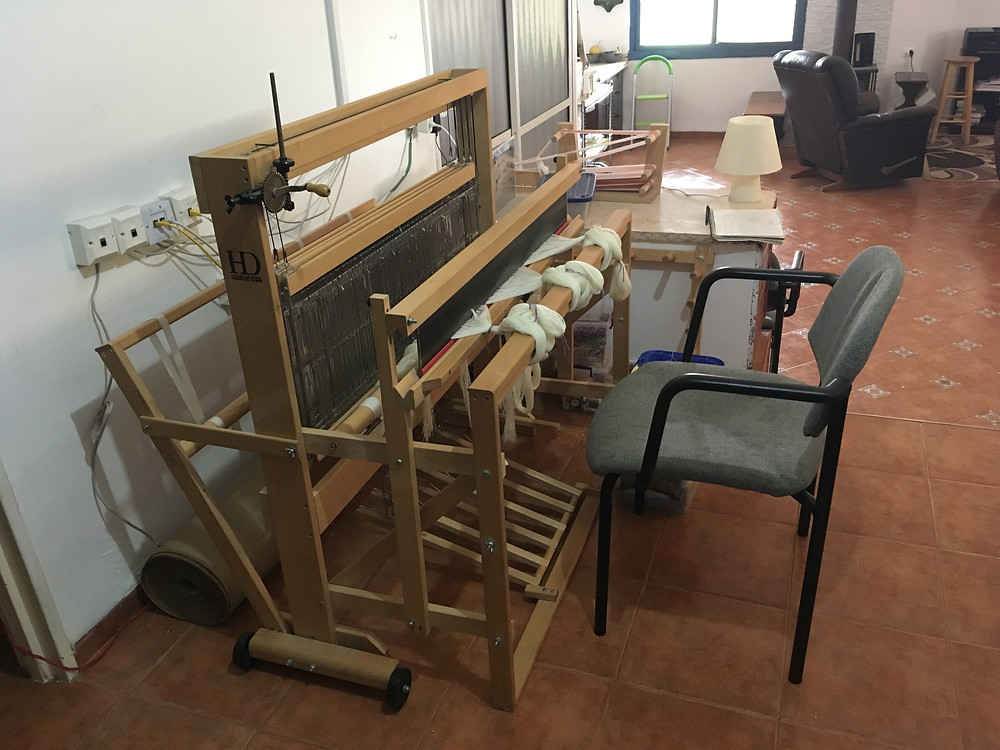 The loom all set up in its new home.  Such a bright and cheerful spot to weave.