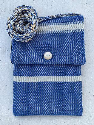 Bright Blue with Light Blue Stripes Mini-Purse