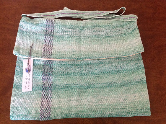 Mint Green Shoulder Bag with Purple Accent