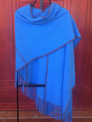 Techelet w/ Brown Accent L-Shaped Shawl