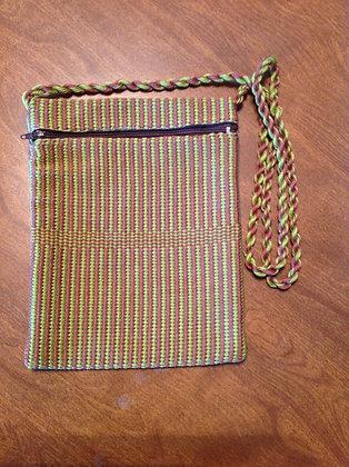Green & Brown Basket Weave Pocket Purse