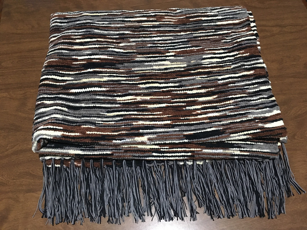 Warm Chenille Blanket in Dark Colors