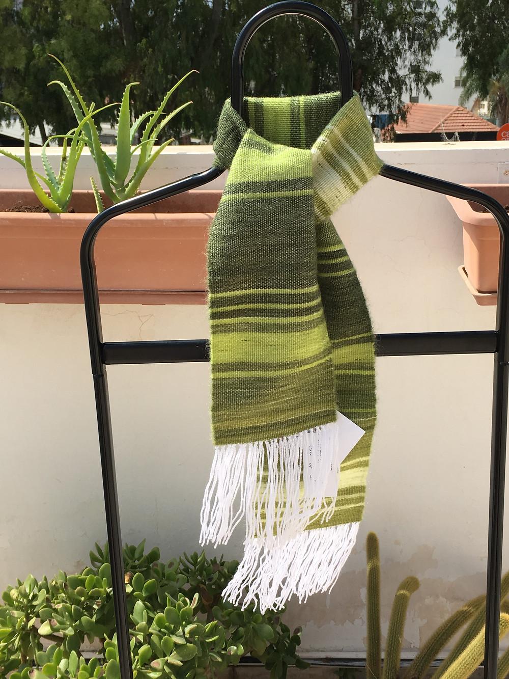 Green Striped Children's Scarf