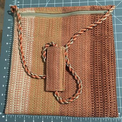 Shabbat Purse - Orange Design on Browns