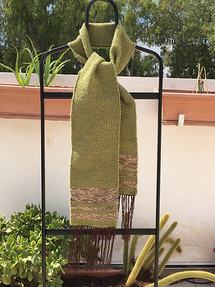 Green Scarf with Brown Accents