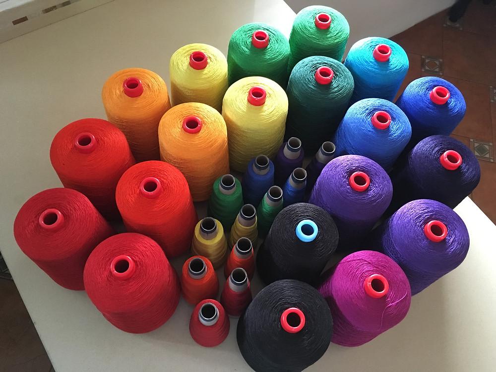 A beautiful RAINBOW of cotton yarn.