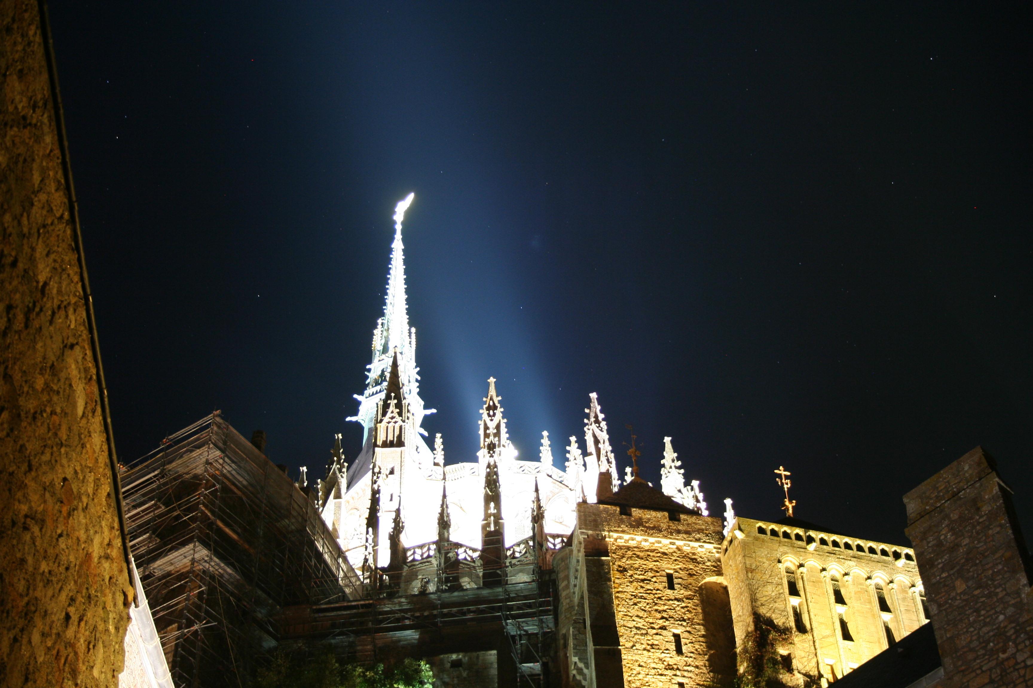 Mont St Michel Apex at Night