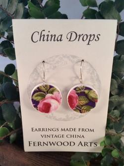 China Drop Rose Earrings