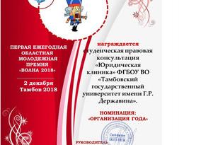 """ЕЖЕГОДНАЯ МОЛОДЕЖНАЯ ПРЕМИЯ """"ВОЛНА 2018"""""""