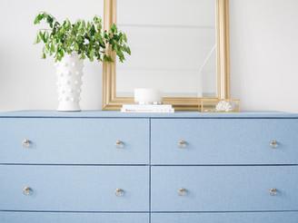 Our pretty blue linen wallpaper dresser!