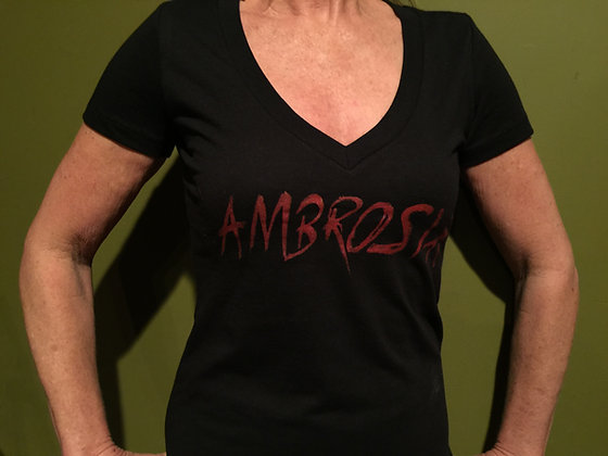 Woman's V-Neck Black Ambrosia Logo T-Shirt