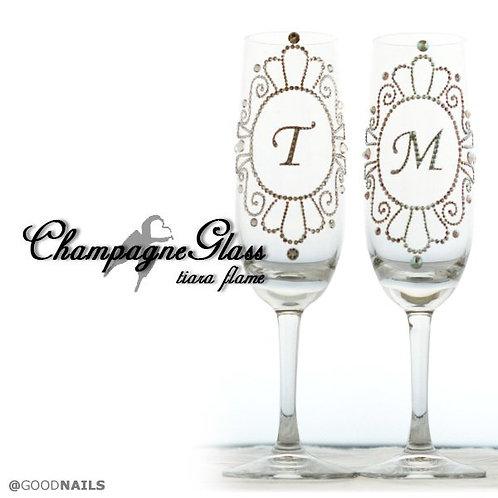 【スワロフスキー シャンパングラス】スワロフスキー デコ  開店祝い プレゼント 結婚式 イニシャル オリジナルグラス 名入れ 結婚祝い 誕生日プレゼント