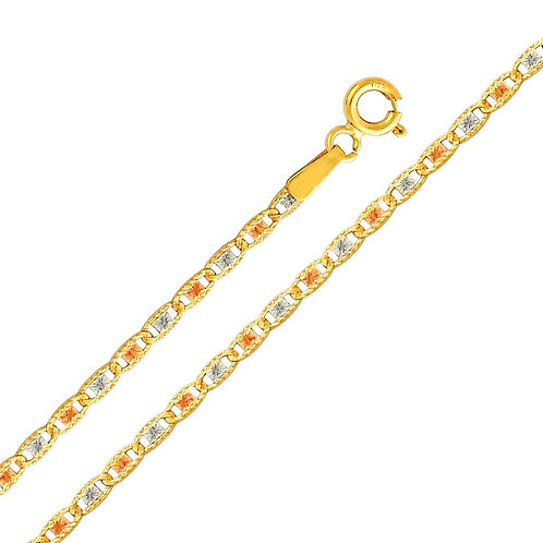 14k Tri-Tone (White, Yellow and Rose) Gold 2-mm Valentino Chain Necklace
