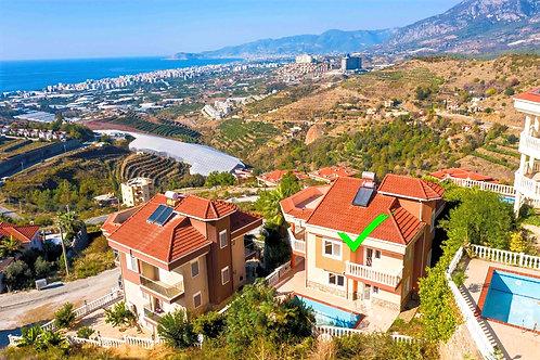 Трёхэтажная вилла 4+2 в Каргыджаке (панорамный вид на море!)