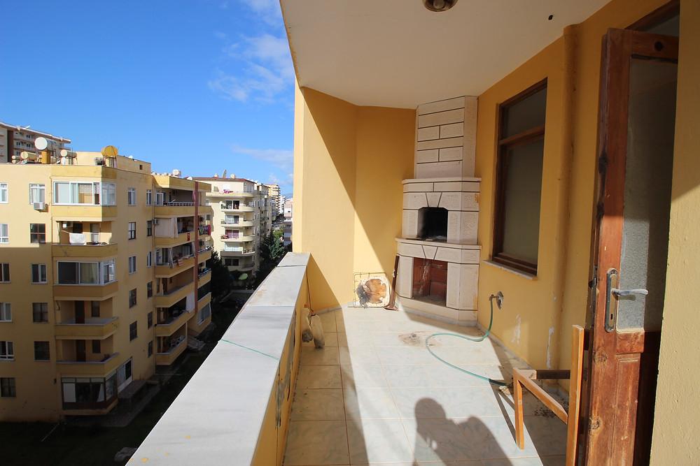 трёхкомнатная квартира с камином в Махмутларе, 200 м до пляжа