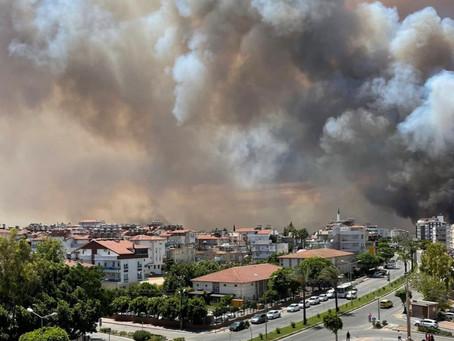 Турция борется с лесными пожарами, на помощь пришли Россия и Украина